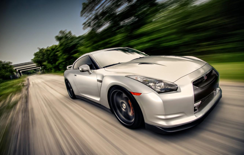 Photo wallpaper GTR, Nissan, speed, fast, sports car, moving