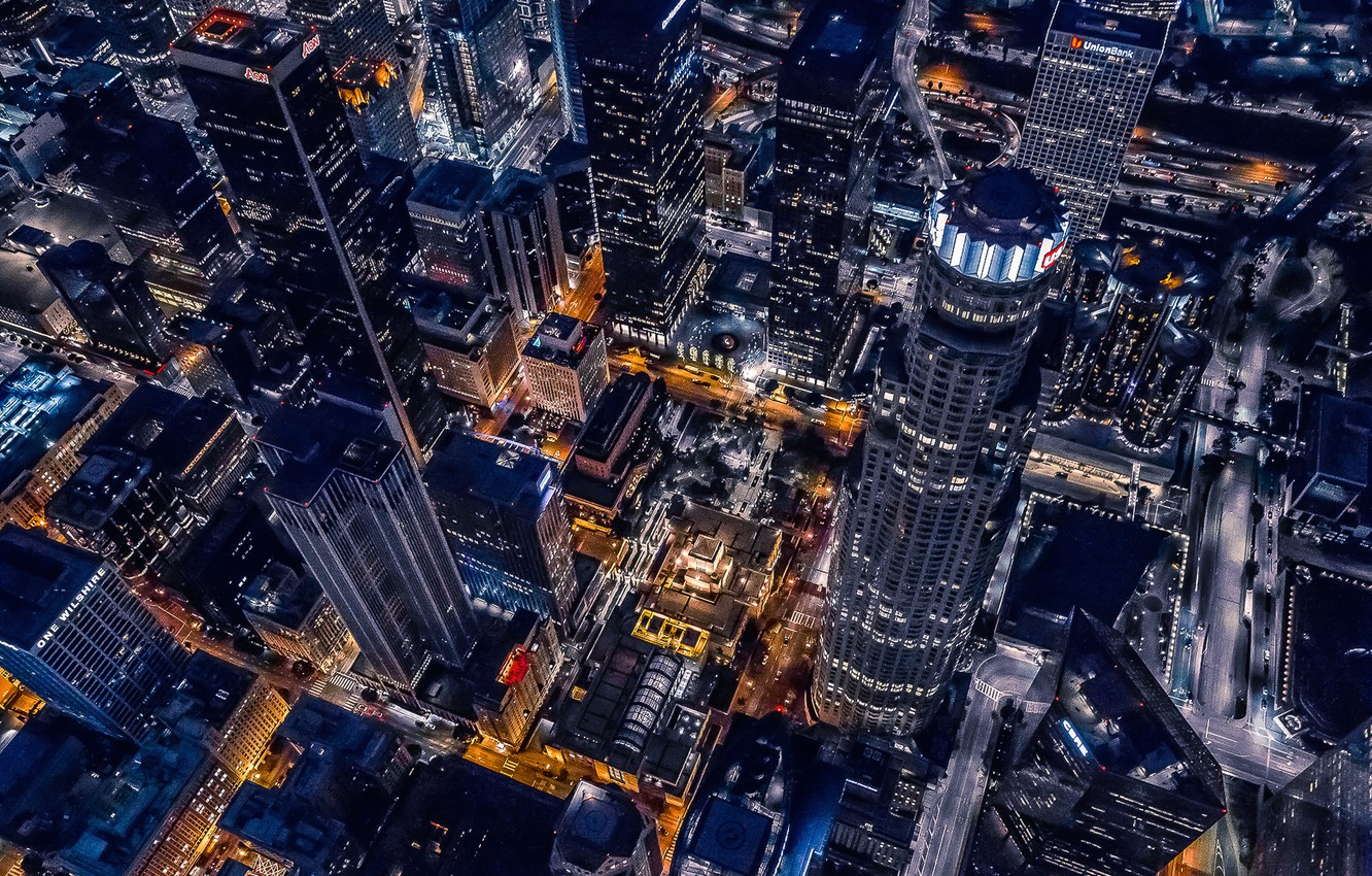 Photo wallpaper City, Cool, Urban, Night, Los Angeles, California, Downtown, Helicopter, Buildings, Cityscape, Achitecture