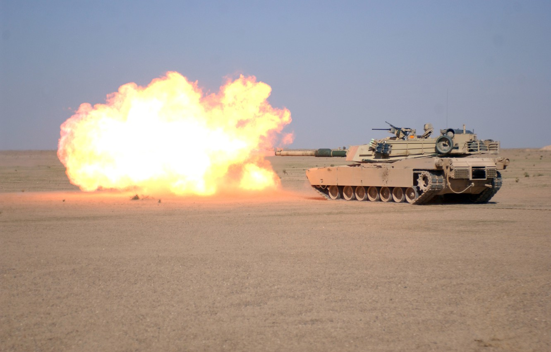 Photo wallpaper weapons, fire, flame, Wallpaper, desert, shot, tank, wallpaper, gun, M1A1, Abrams, Abrams, firing, main