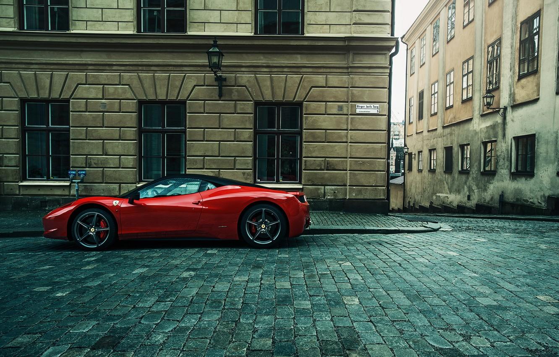 Photo wallpaper the city, street, supercar, Ferrari, ferrari 458 Italia