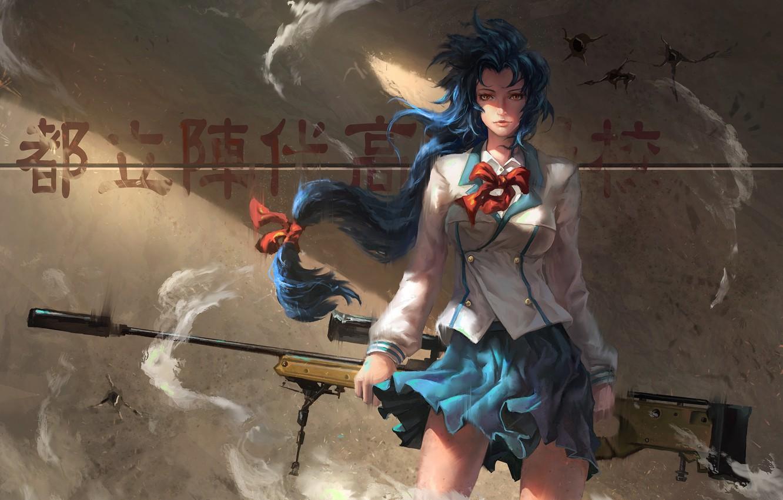 Photo wallpaper girl, wall, anime, shadows, girl, wall, schoolgirl, character, school uniform, school uniform, anime, blue hair, …