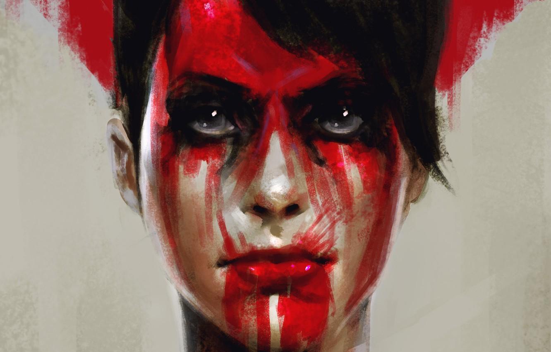 Wallpaper Look Face Blood Art Metal Gear Solid The