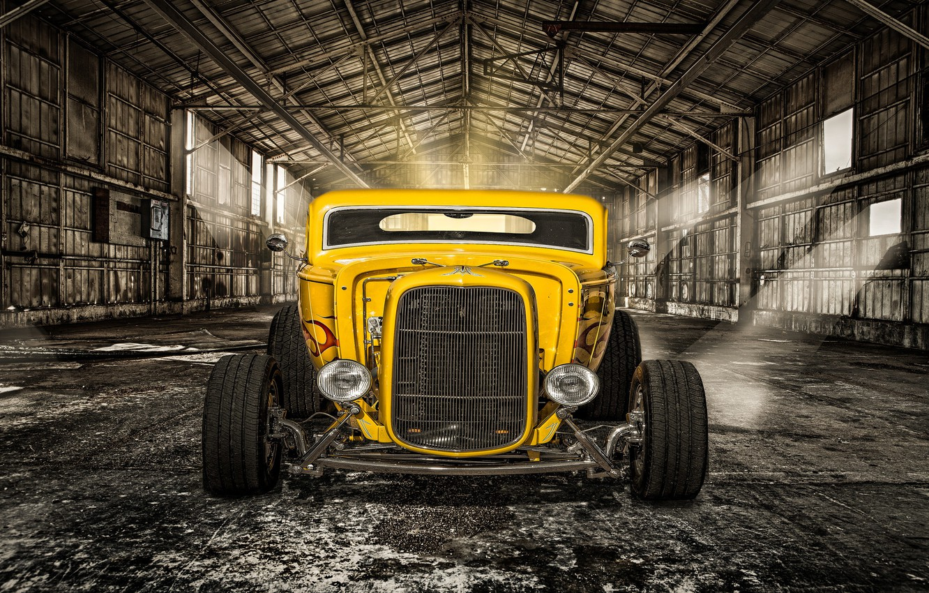 Photo wallpaper yellow, retro, lights, hangar, classic, the front, hot-rod, classic car