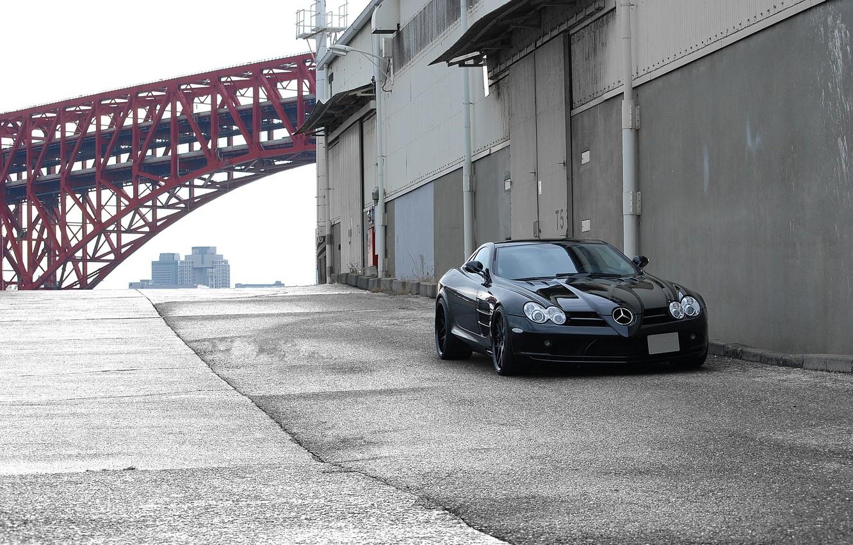 Photo wallpaper red, bridge, black, red, black, Mercedes Benz, front view, bridge, SLR McLaren, McLaren, Mercedes Benz