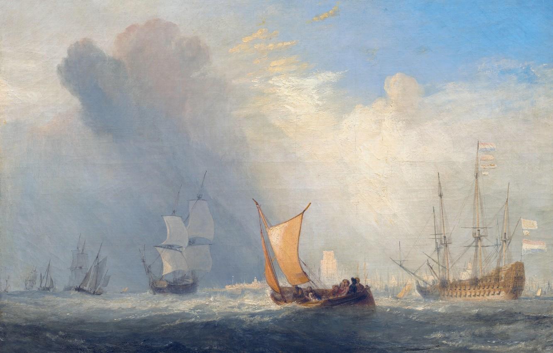 Photo wallpaper sea, boat, ship, picture, sail, seascape, William Turner, Rotterdam Ferry Boat