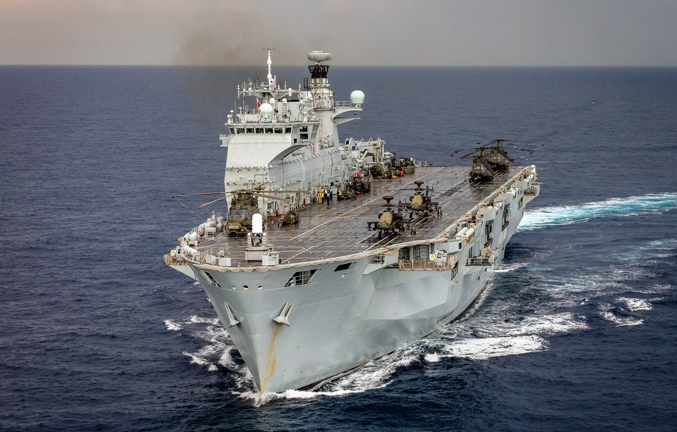 Photo wallpaper weapons, army, Navy, Helicopter Carrier, HMS Ocean (L12)