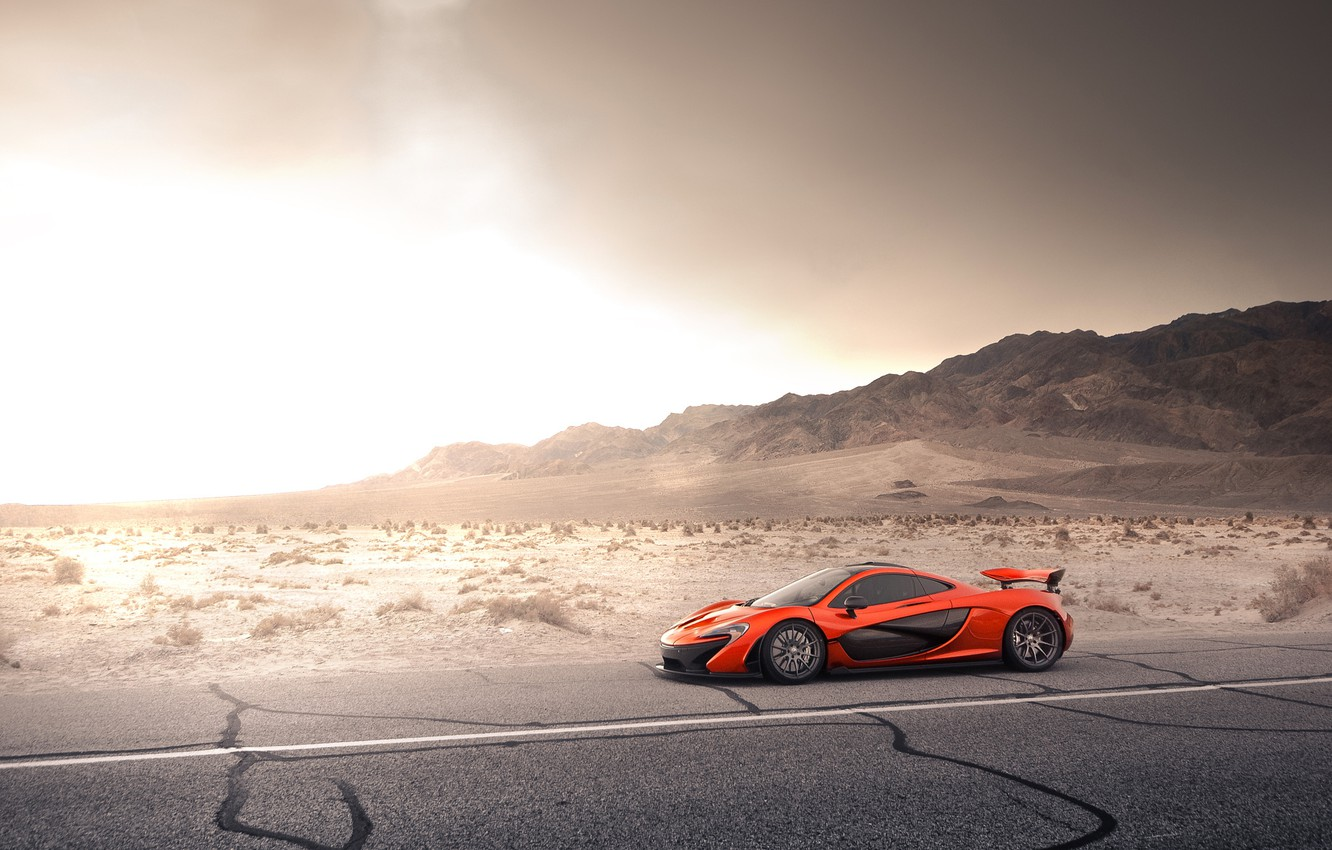Photo wallpaper McLaren, Orange, Front, Storm, Road, Supercar, Desert