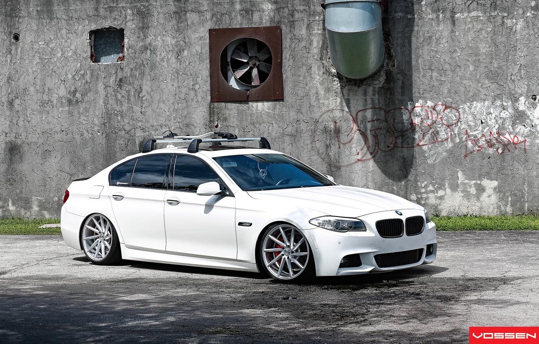 Photo wallpaper BMW, white, 5 series, f10, vossen, 535i