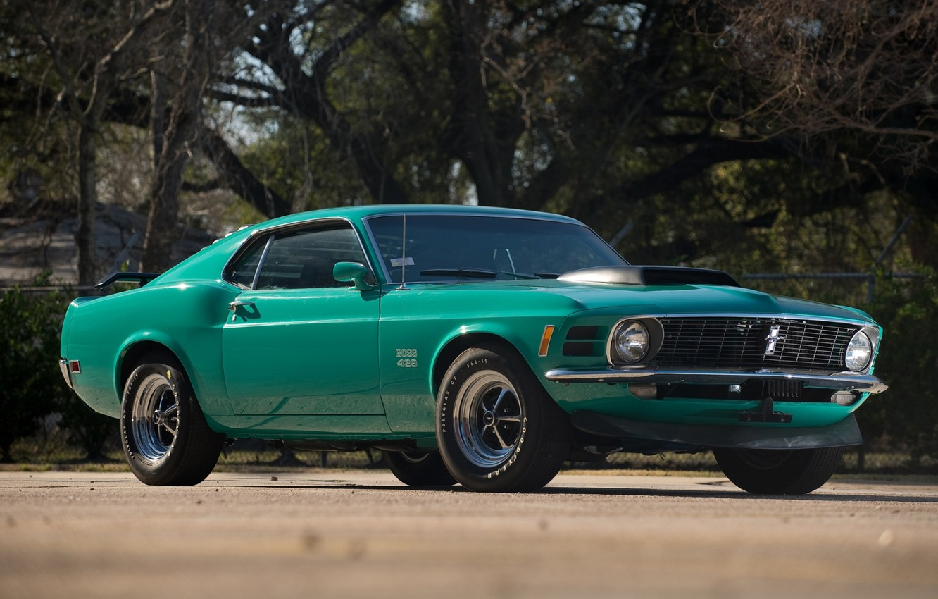 Photo wallpaper trees, Mustang, Ford, Ford, Mustang, muscle car, classic, 1970, the front, Boss, Muscle car, 429, …
