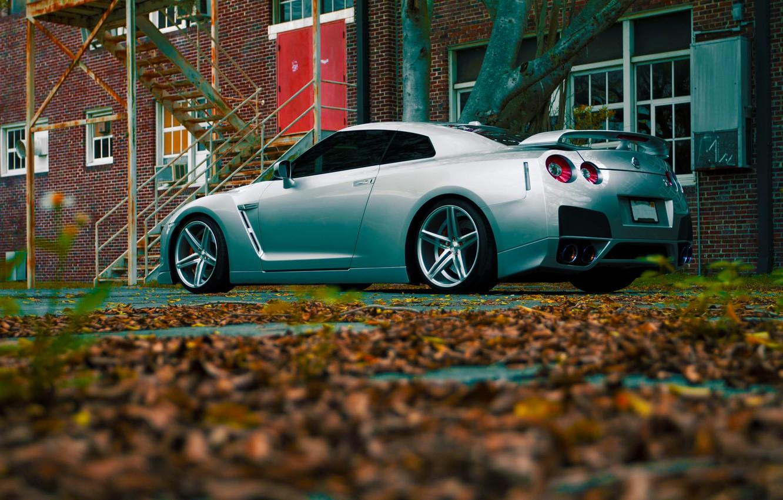 Photo wallpaper GTR, Nissan, Color, R35, Vossen, Silver, Wheels, Rear, CV5
