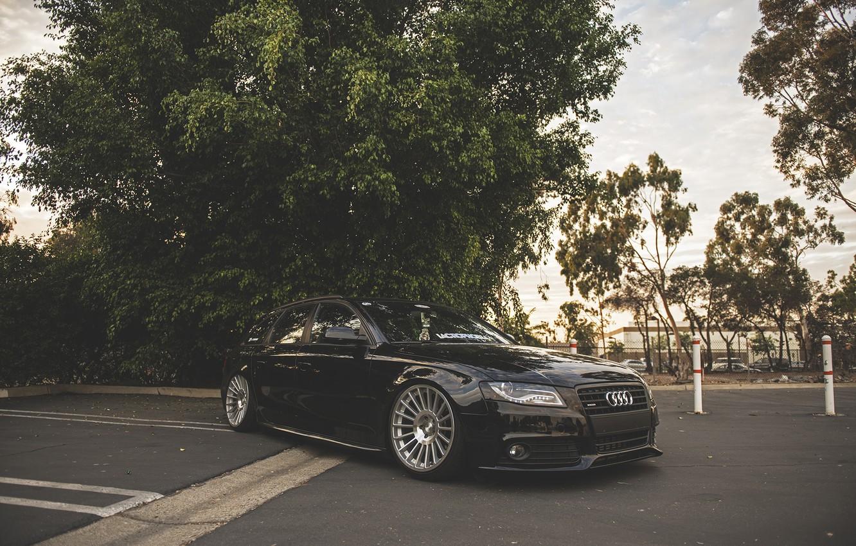 Photo wallpaper Audi, wheels, black, wagon, before