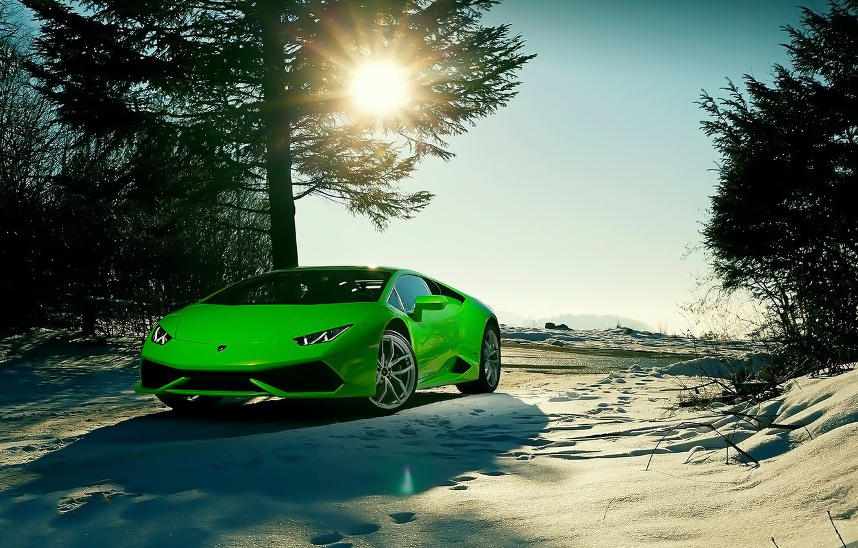 Photo wallpaper Lamborghini, Sky, Green, Front, Sun, Color, Snow, Beauty, Supercar, 2015, Huracan, Ligth, LP640-4