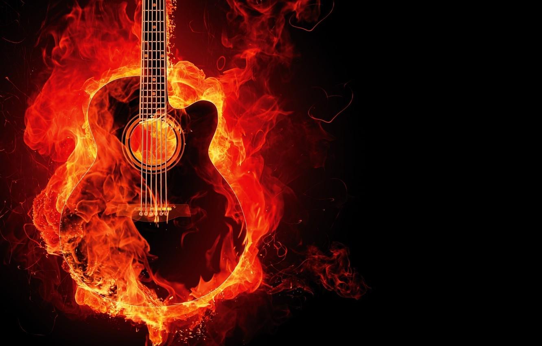 Photo wallpaper background, fire, Guitar