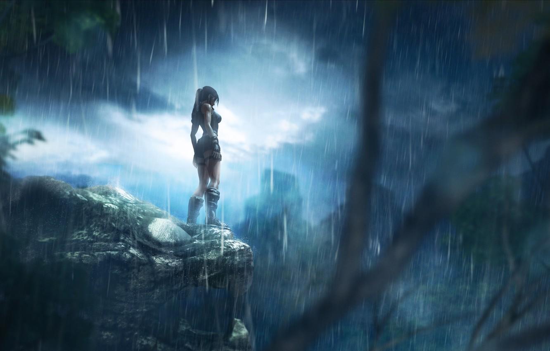 Photo wallpaper night, rain, jungle, lara croft, tomb raider