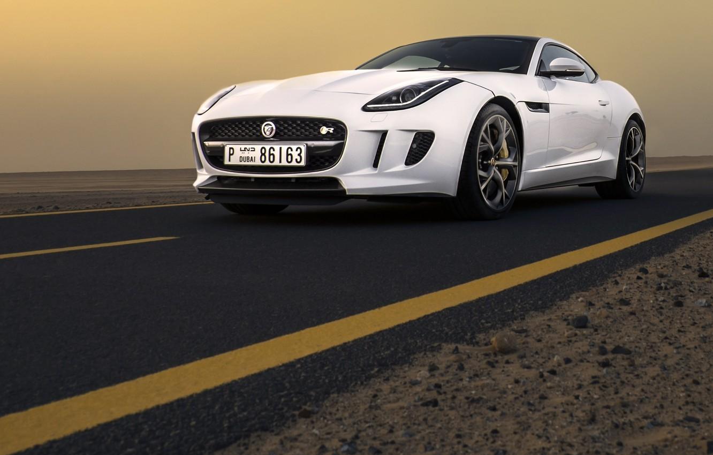 Photo wallpaper Jaguar, Car, Dubai, White, Sand, Sport, Luxury, F-Type, Dunes