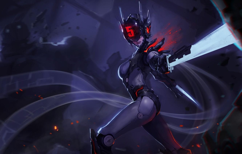 Photo wallpaper girl, figure, sword, art, helmet, girl, sword, cyborg, cyberpunk, art, blade, cyberpunk, blade, League of …