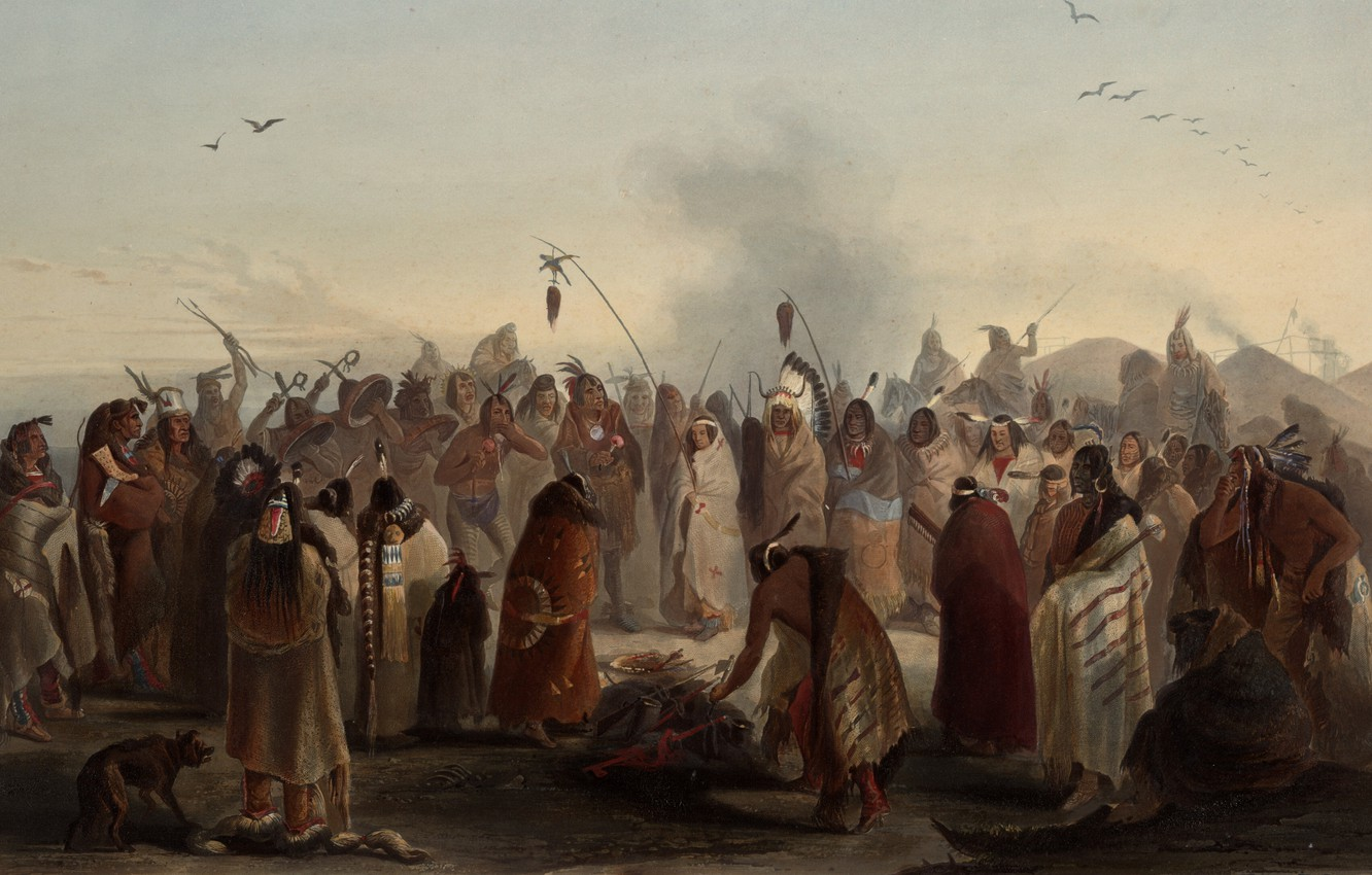 Photo wallpaper picture, painting, painting, Karl Bodmer, Bodmer, Scalp Dance of the Minatarres - Awesome St, 1836