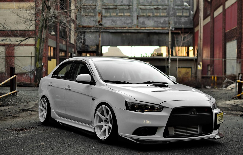 Photo wallpaper Mitsubishi, white, tuning, lancer, evolution