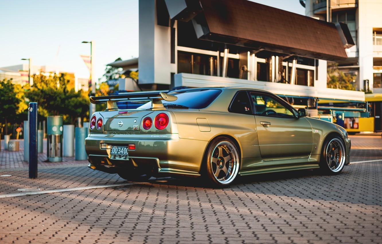 Photo wallpaper Nissan, GT-R, gold, skyline, R34