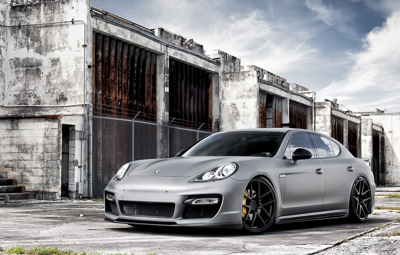 Photo wallpaper Auto, Porsche, Wall, Tuning, Panamera, Machine, Tuning, Brick