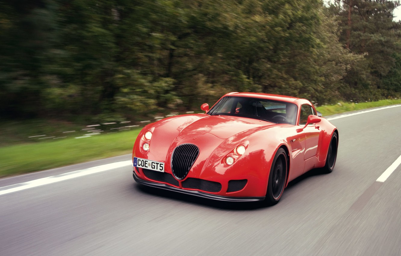 Photo wallpaper Road, Forest, Wiesmann GT MF5, The Contours Of Power