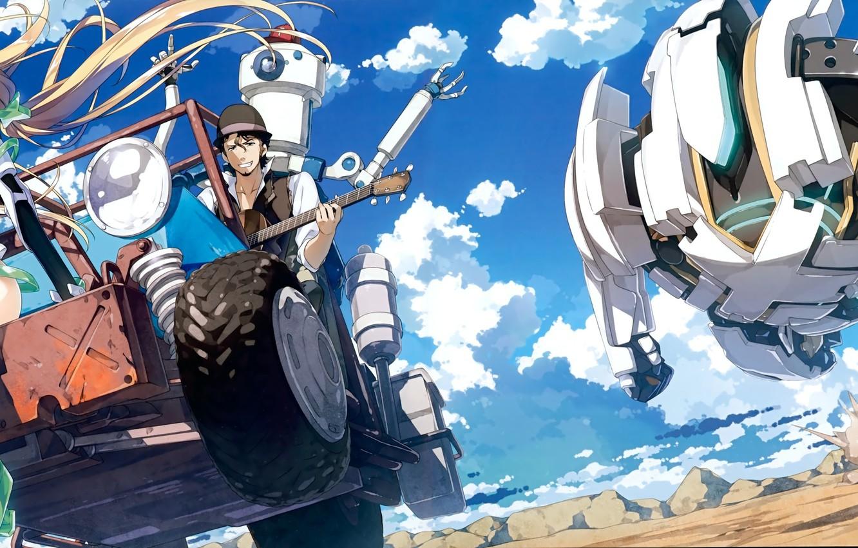Photo wallpaper machine, the sky, clouds, smile, robot, chase, anime, art, guy, kantoku, angela balzac. girl, expelled ...