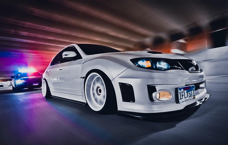 Photo wallpaper car, Wallpaper, tuning, speed, police, chase, white, white, sexy, car, subaru, style, impreza, jdm, tuning, …