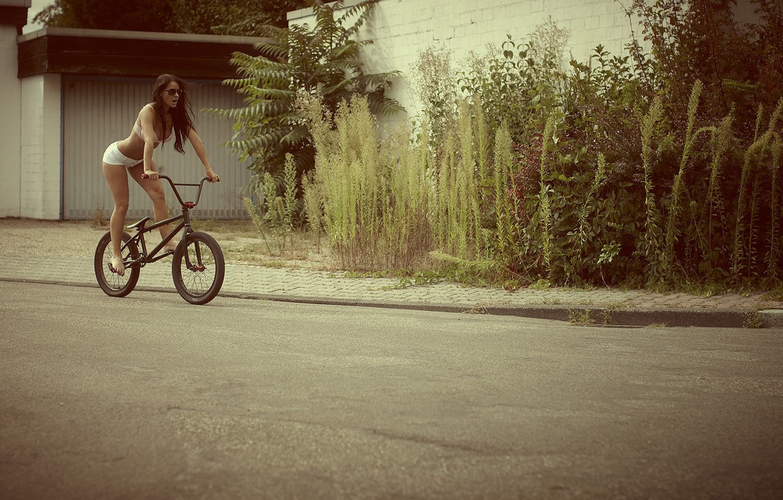 Photo wallpaper road, girl, bike, street, shorts, underwear, brunette, glasses, sexy, the bushes, kristina, melissa mendini