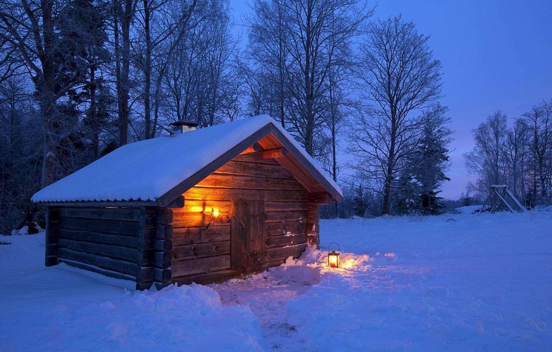 Photo wallpaper winter, forest, light, snow, trees, night, house, lantern, Sweden, Sweden, landscape, night, winter