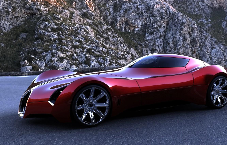 Photo wallpaper road, mountains, red, the concept, sports, bugatti, machine., aerolithe