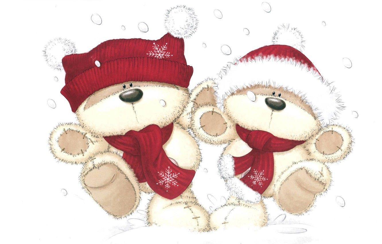 Photo wallpaper winter, snow, art, New year, bears, children's, a celebration