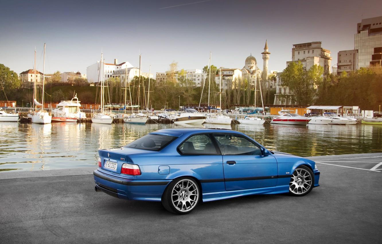 Photo wallpaper car, auto, BMW, yachts, promenade, bmw m3, E36, auto wallpaper