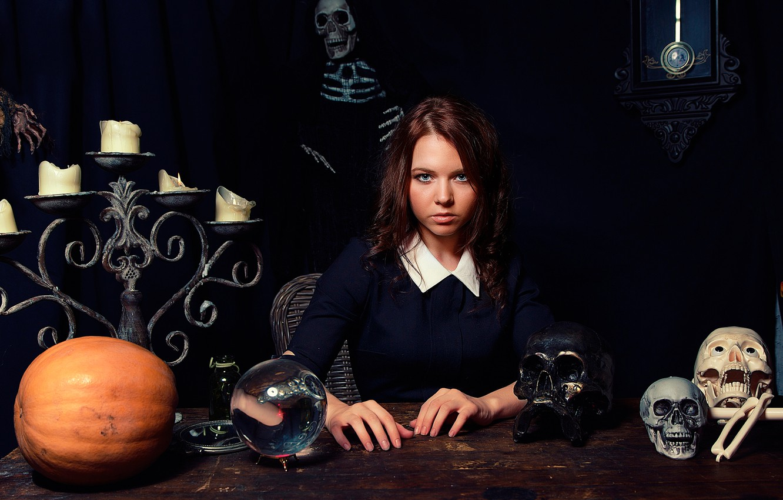 Photo wallpaper ball, candles, skeleton, skull, the fortune teller, Fortune Teller
