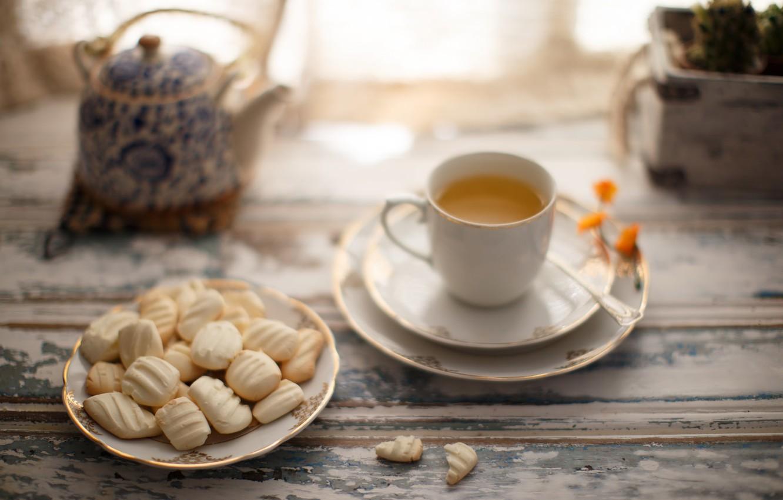 Photo wallpaper coffee, still life, window, cookies, biscuits
