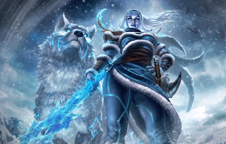 Photo wallpaper snow, woman, wolf, warrior, woman, snow, goddess, wolf, Scandinavia, warrior, goddess, mythology, mythology, skadi, Skadi