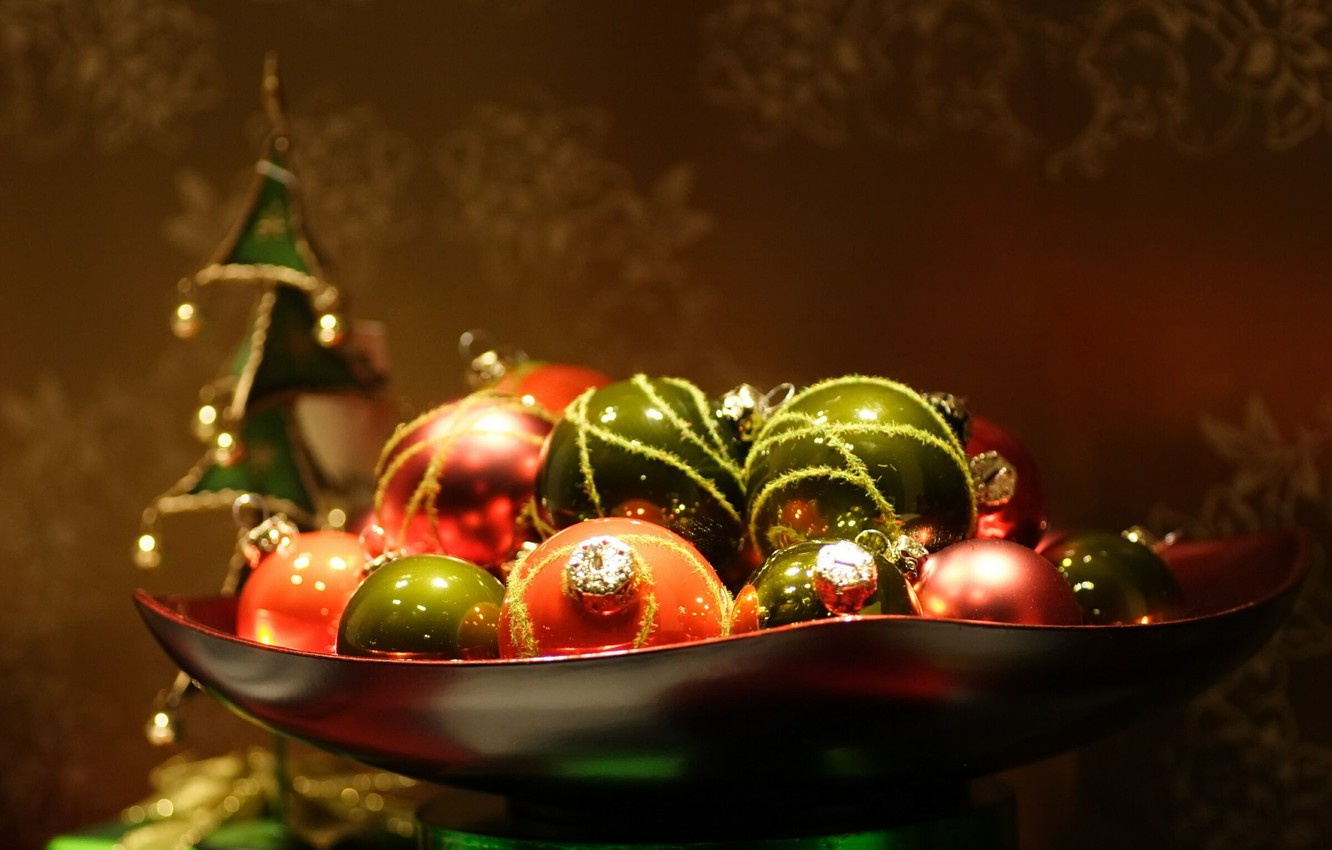 Photo wallpaper Macro, Ball, New year, Toys, Holidays, Christmas decorations