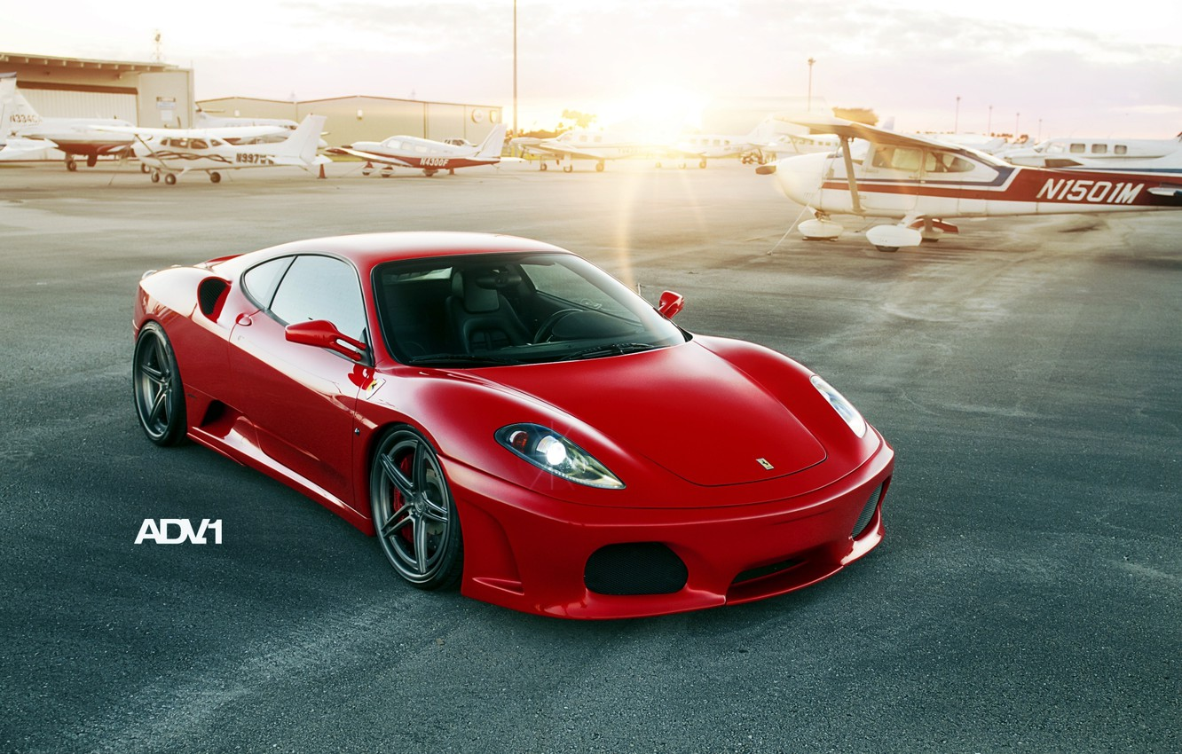 Photo wallpaper sunset, red, tuning, supercar, ferrari, Ferrari, the airfield, f430, tuning, the front, aircraft, F430, adv.1