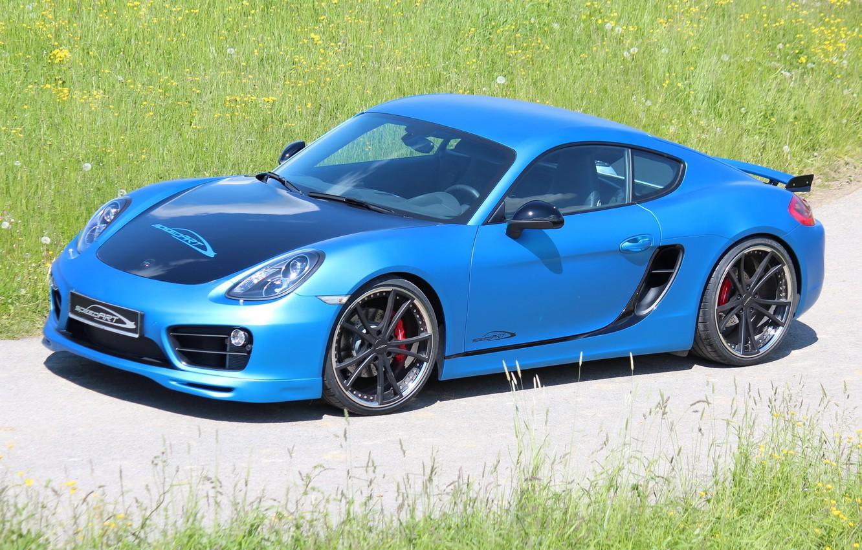 Photo wallpaper car, machine, Porsche, Cayman, blue, tuning, SpeedART, SP81-CR