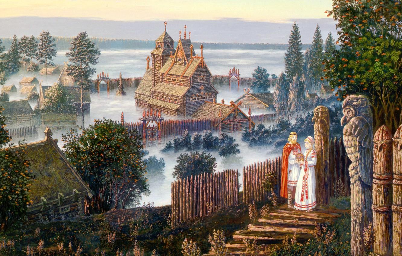 Photo wallpaper summer, fog, woman, home, hill, male, art, wooden, Vsevolod Ivanov, Russian folklore, Vedic temple, towering …