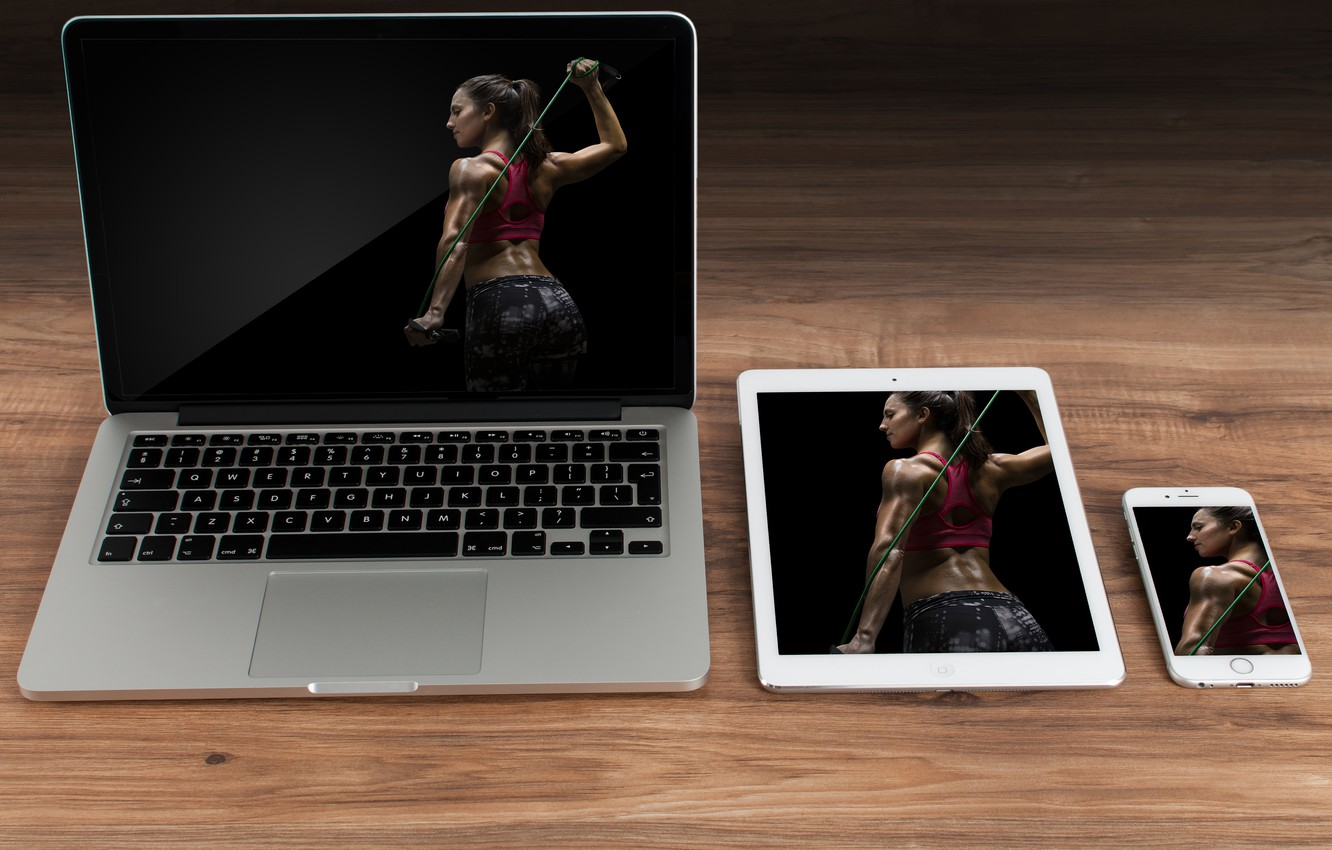 Photo wallpaper woman, notebook, fitness, tablet, cellular smartphone