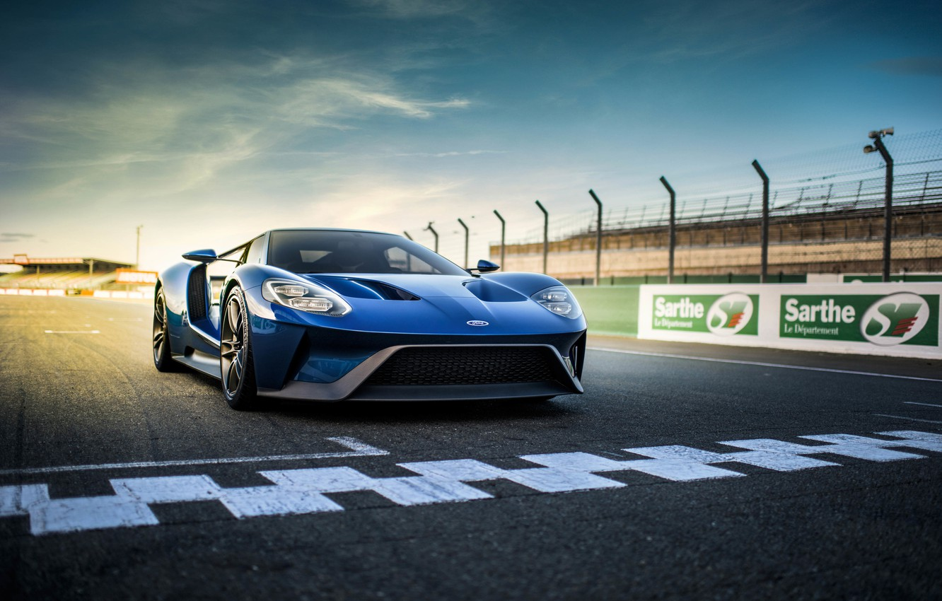 Photo wallpaper blue, markup, track, Ford, supercar, supercar, Ford, blue