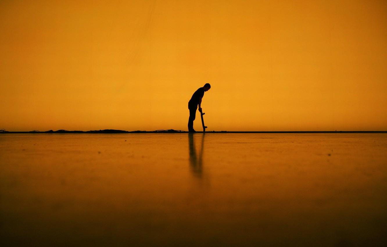 Photo wallpaper line, shadow, male, skateboard