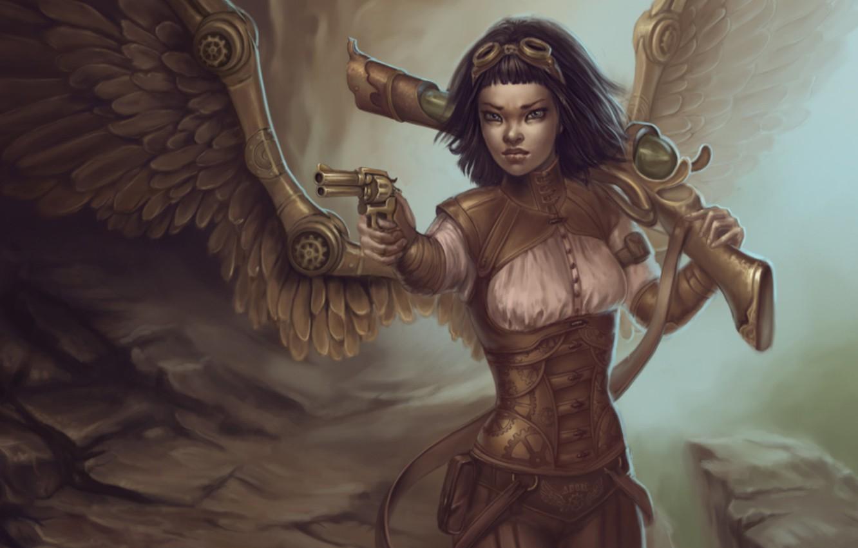 Photo wallpaper gun, wings, girl, the gun, Steampunk