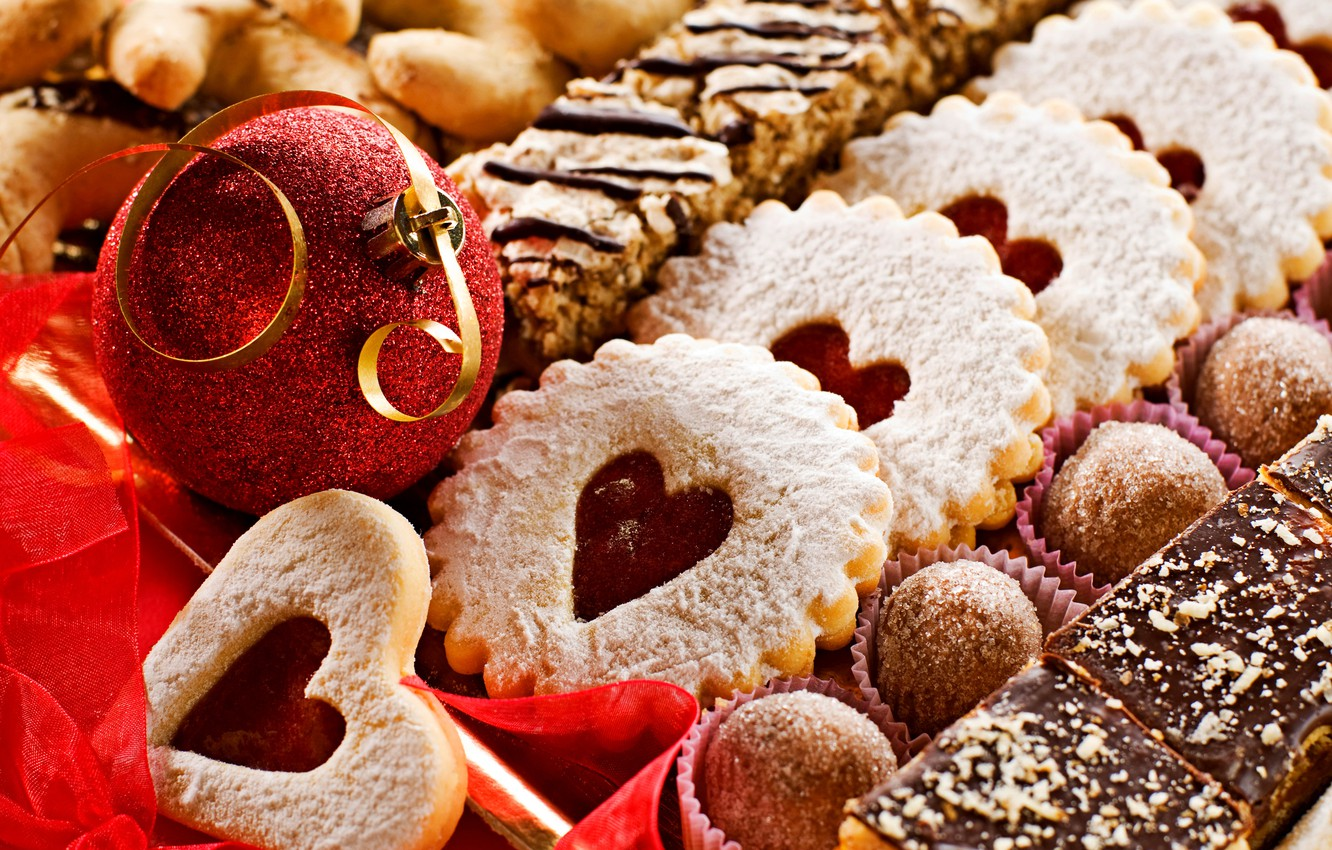 Photo wallpaper decoration, tape, holiday, balls, food, heart, cookies, candy, New year, Happy New Year, balls, hearts, …