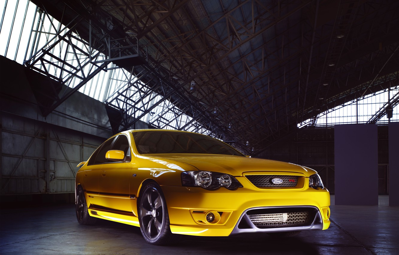 Photo wallpaper yellow, car, the front, 2005, Australia, Typhoon, FPV, Ford Falcon