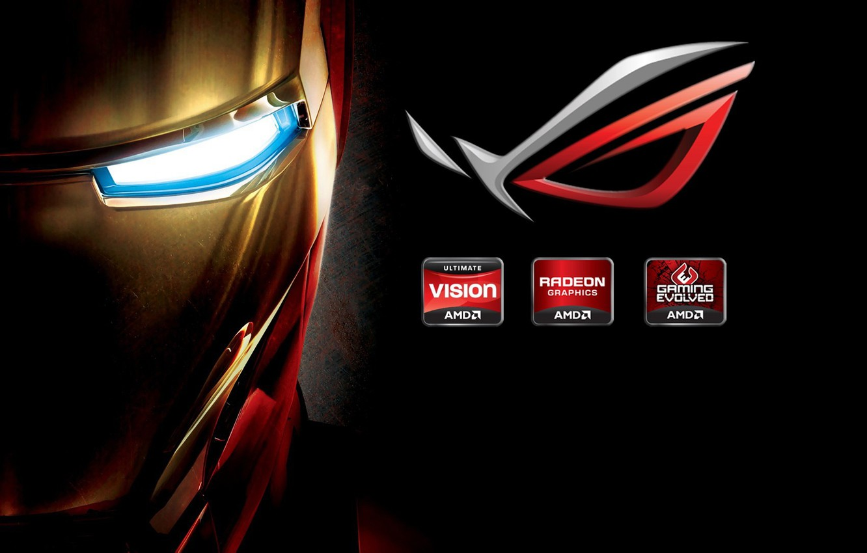 Photo wallpaper logo, iron man, brand, hi-tech, Iron man, company, brand, mask, tony stark, Asus.