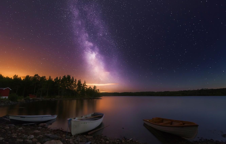 Photo wallpaper night, lake, stars, boats, Norway, Three of a Kind