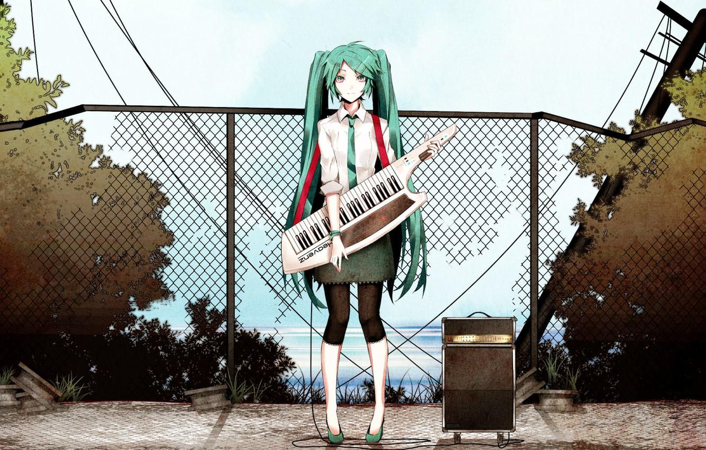 Photo wallpaper girl, tie, vocaloid, Hatsune Miku, long hair