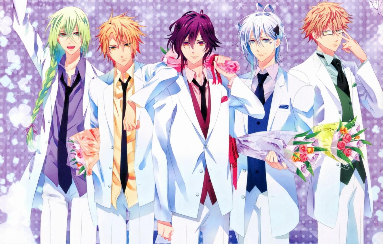 Photo wallpaper bouquet, glasses, costume, tie, braid, kent, amnesia, shin, amnesia, ikki, toma, five, ukyo, by mai …