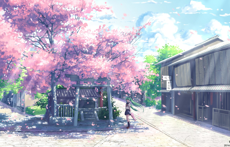 Photo wallpaper girl, umbrella, anime, Sakura, art, form, schoolgirl, vocaloid, hatsune miku, yuuko-san